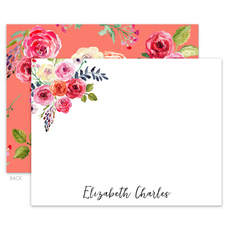 Salmon Floral Flat Note Cards