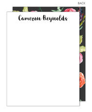Charcoal Floral Bunch Flat Note Cards