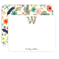 White Garden Initial Flat Note Cards