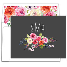 Charcoal Floral Bunch Foldover Note Cards