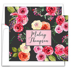 Charcoal Floral Folded Note Cards