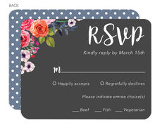 Charcoal Corner Watercolor Roses Response Cards