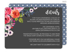 Charcoal Watercolor Roses Wedding Information Cards