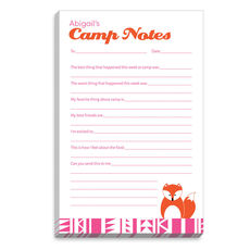 Pink Border Fox Fill In Camp Notepads