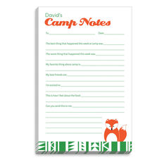 Green Border Fox Fill In Camp Notepads