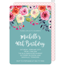 Blue Watercolor Roses Invitations