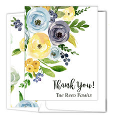 Yellow and Blue Corner Flowers Vertical Foldover Note Cards
