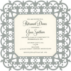 Silver Filigree Square Die-cut Frame Invitations