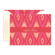 Pink Ikat Foldover Note Cards