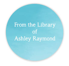 Blue Ombre Library Round Stickers