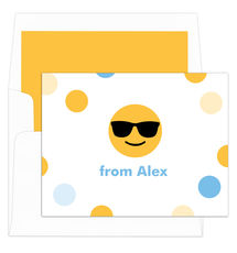 Sunglasses Emoji Dots Folded Note Cards