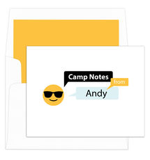 Sunglasses Emoji Speech Bubble Camp Folded Note Cards