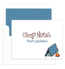 Blue Tent Camp Foldover Note Cards