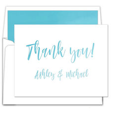 Blue Ombre Foldover Thank You Note Cards