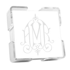 Henley Watercolor Monogram Petite Square with Crystal Clear Holder