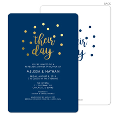 Navy Their Day Confetti Dot Invitations