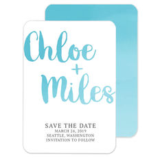 Blue Ombre Save The Date Announcements