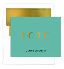 Teal Hugs & Kisses Gold Foil Foldover Note Cards with Lined Envelopes