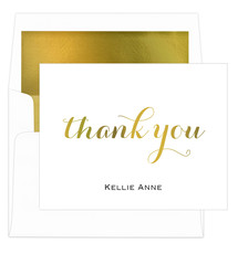 White Thank You Foldover Foil Stamped Note Cards with Lined Envelopes