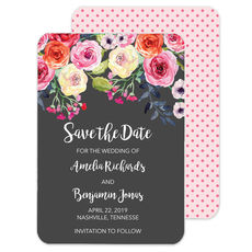 Charcoal Watercolor Roses Save the Date Announcements