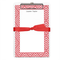 Red Geometric Border Notepads with Clipboard