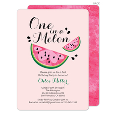 Pink One in a Melon Invitations