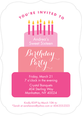 Pink Tiered Cake Birthday Invitations