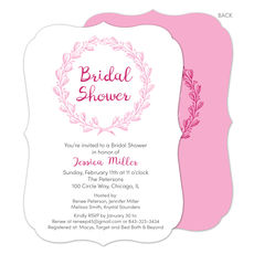 Pink Bridal Shower Wreath Invitations