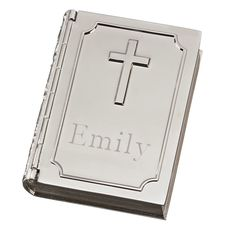 Personalized Book Shape Box with Cross
