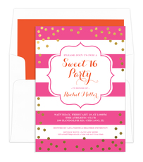 Pink Sweet 16 Gold Confetti Birthday Invitations