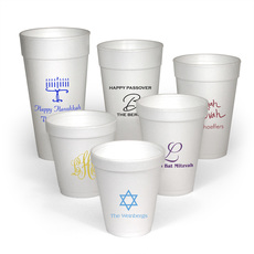 Personalized Styrofoam Party Cups for Jewish Celebrations