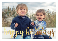 Happy Holidays Foil Flat Photo Cards
