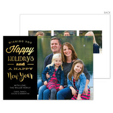 Black Happy Holidays and New Year Foil Photo Cards
