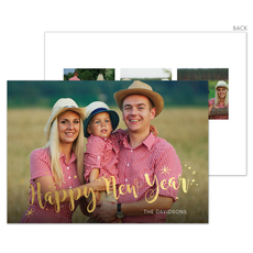 Happy New Year Starburst Gold Foil Holiday Photo Cards