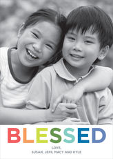 Colorful Blessed Flat Photo Cards
