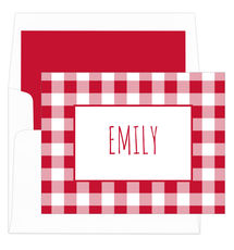 Red Gingham Foldover Note Cards