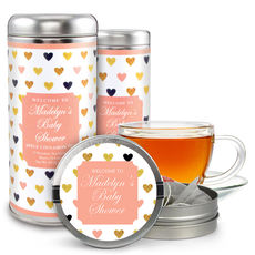 Gold Hearts Tea Tin Party Favors