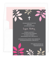Grey and Pink Botanical Leaves with Cross Invitations