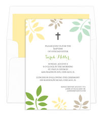 Green and Yellow Botanical Leaves with Cross Invitations
