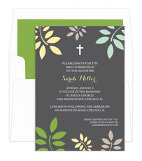 Grey and Yellow Botanical Leaves with Cross Invitations