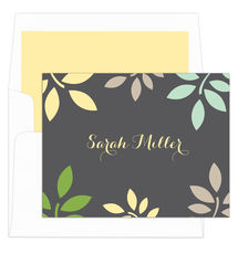 Grey and Yellow Botanical Leaves Foldover Note Cards