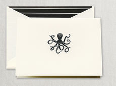 Engraved Octopus Boxed Folded Note Cards