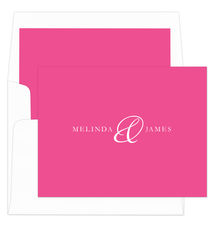 Hot Pink Elegant Ampersand Foldover Note Cards