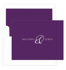 Purple Elegant Ampersand Foldover Note Cards
