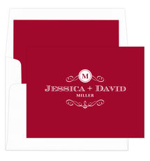 Red Initial Scroll Foldover Note Cards
