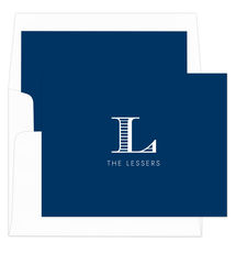 Navy Striped Initial Folded Note Cards