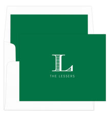 Green Striped Initial Foldover Note Cards