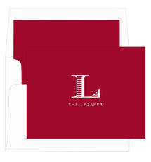 Red Striped Initial Folded Note Cards