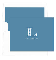 Wedgewood Striped Initial Foldover Note Cards