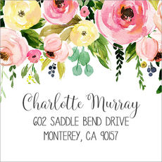 Spring Peonies Square Address Labels